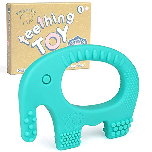 Elephant Newborn Teether - Baby Teething Toys - BPA Free Silicone - Easy to Hold, Soft, Bendable, Highly Effective Elephant Teether, Best for Freezer, Cool Girl Or Boy 3 6 12 Months 1 Year Old Christmas Gifts Stocking Stuffers