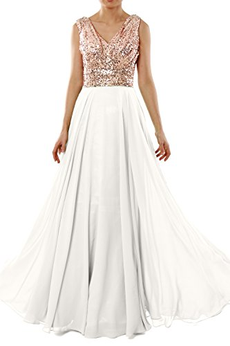 MACloth Women V Neck Sequin Chiffon Long Wedding Bridesmaid Dress Evening Gown Rose Gold - Ivory 8cKWhbFO
