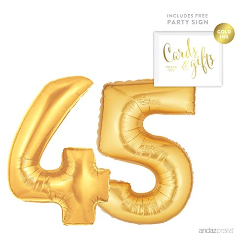 Birthday Decoration Items (Andaz Press Giant Gold Helium Foil Balloon Party Kit with Sign, Jumbo 40-inch, Number 45, Metallic Gold Shiny Mylar, 1-Pack, Includes Free Party Sign!, 45th Birthday Anniversary Party Decorations)