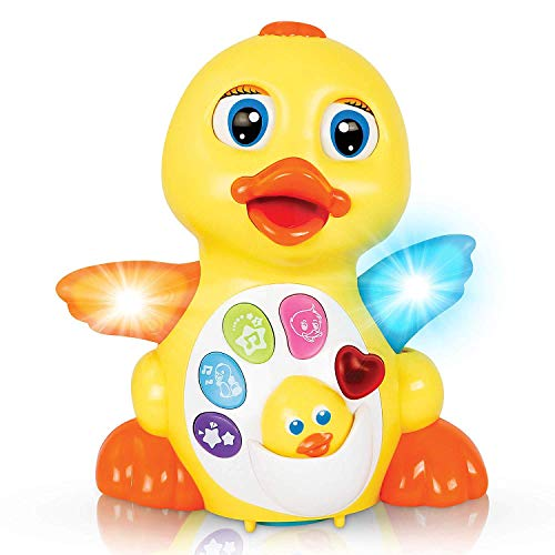 HOMOFY Baby Toys Lovely Dancing Yellow Duck with Singing, Music Lights and Walking, Learning Kids Toys for Girls and Boys or Toddlers (Cute Yellow Duck) (Cute Yellow Duck)