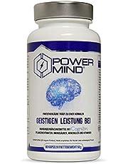 POWERMIND | Premium Brain Booster | Mit Magnesium, Vitamin B Komplex für mentale Leistungsfähigkeit, Konzentration und Gedächtnis | Mit CDP Cholin | 60 Veganen Kapseln | Nootropic Hergestellt in DE