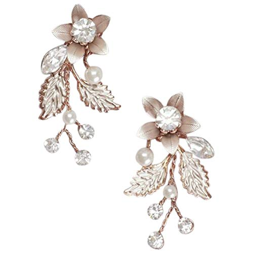 Jeweled Brushed Metal Flower Earrings Style 8148E, Rose Gold
