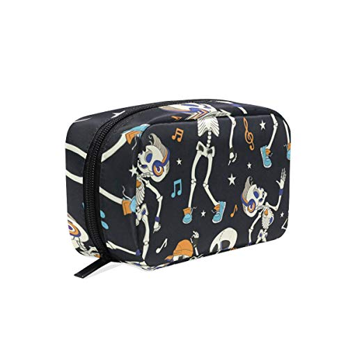 (Cosmetic Bag Vintage Happy Halloween Skull Skeleton Customized Square Organizer Portable Pouch Pencil Storage Case for)