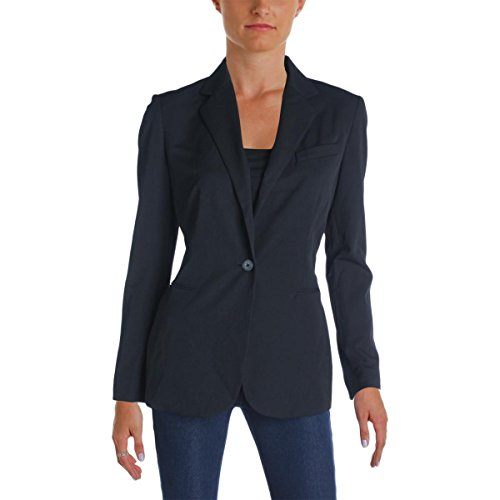 (Lauren Ralph Lauren Womens Twill Notch Collar One-Button Blazer Black 6)