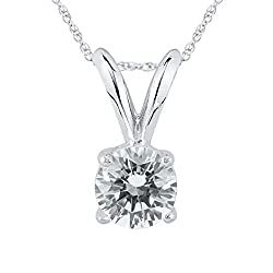 Round Diamond Solitaire Pendant in White Gold