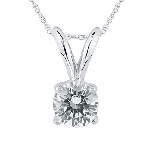 AGS Certified 1/3 Carat Round Diamond Solitaire Pendant in 14K White Gold ()