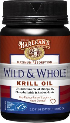 Barlean's Organic Oils Wild and Whole Krill Oil, 120 Count softgels, 500 mg ea.