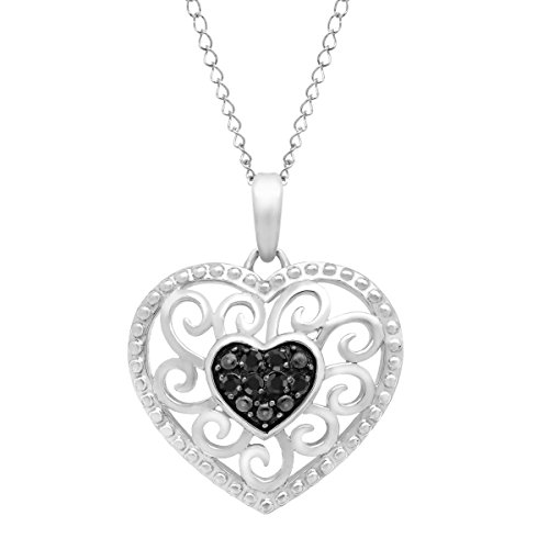 1 10 ct Black Diamond Heart Pendant Necklace in Sterling Silver