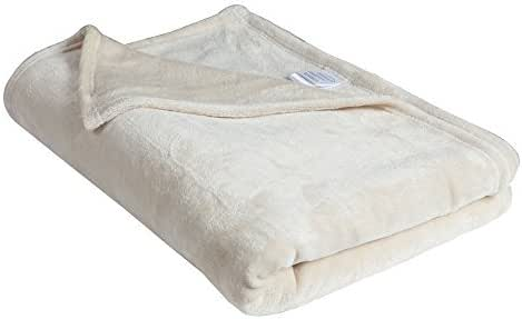 Matthem All Season Ultra Soft Plush Velvet Fleece Bed Throw Blanket-Cozy and Warm (59x79, Ivory)
