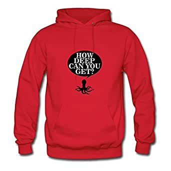 Women How Deep Can You Get? Print Red Style Personality Deepheather X-large Hoodies