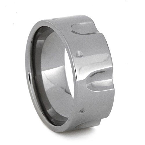 Titanium Revolver Gun Ring 9mm Comfort-Fit Band and Sizing Ring, Size 10 by The Men's Jewelry Store