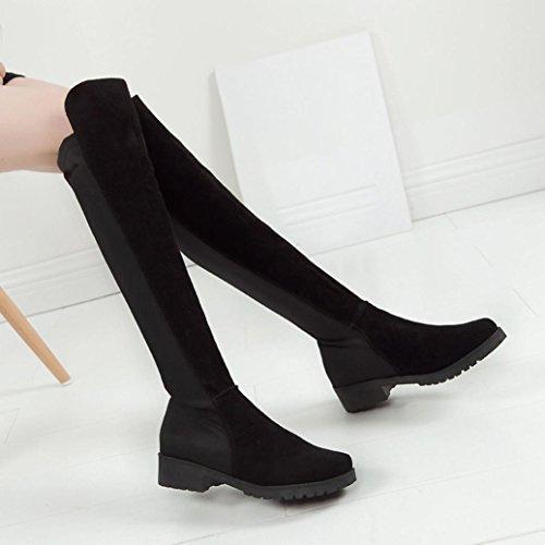 Transer® Damen Lange Stiefel & StiefelettenWildleder+Plastik Schuh Länge: 44-49 cm (Bitte achten Sie auf die Größentabelle. Bitte eine Nummer größer bestellen. Vielen Dank!)