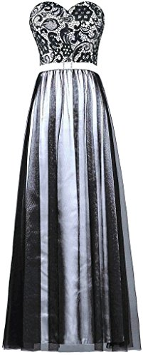 Evening Women's Tulle White ANTS Prom Long Lace Strapless Gown Black Dress SqpxnxUwXd
