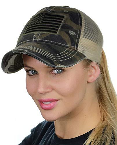 C.C Ponycap Messy High Bun Ponytail Adjustable Mesh Trucker Baseball Cap Hat, Camo, Flag ()