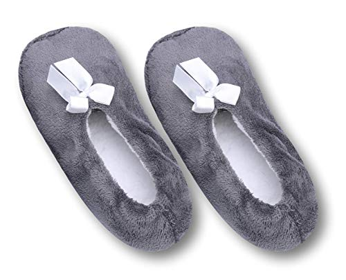 Pembrook Fuzzy Soft Coral Fleece Slippers - Gray - Large (9-10.5) - Ballet Style with Non-Skid Sole - Faux Shearling Lining - Great Plush Slip On House Slippers for Adults, Women, Girls