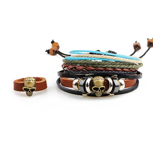 Price comparison product image Winter's Secret Three-piece Suit Ancient Skullbone Handmade Beaded Adjustable Leather Wrap Bracelet