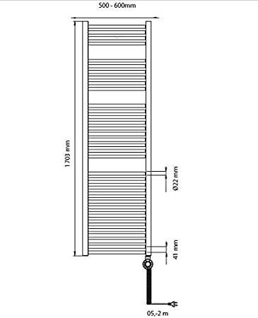 Ma/ße 1110x600 integrierter Temperaturregler 600 Watt Bosch elektrischer Badheizk/örper Heat Radiator 4500 mit Handtuchhalter wei/ß steckerfertig