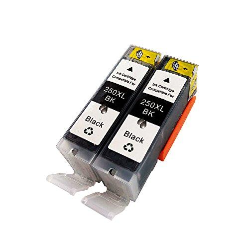 YATUNINK 2 Large Black PGI-250PGBK New ink cartridges use for Cannon PIXMA MG5420, PIXMA MG5450, PIXMA MG6320, PIXMA MG6350, PIXMA MX722, PIXMA MX922