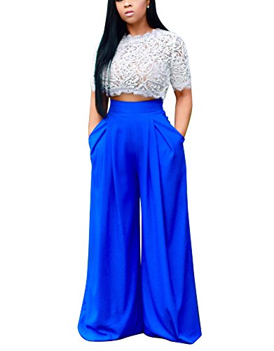Dreamparis Women's 2 Pieces outfits Lace Crop Top+Wide Leg Long Pants Set Jumpsuits
