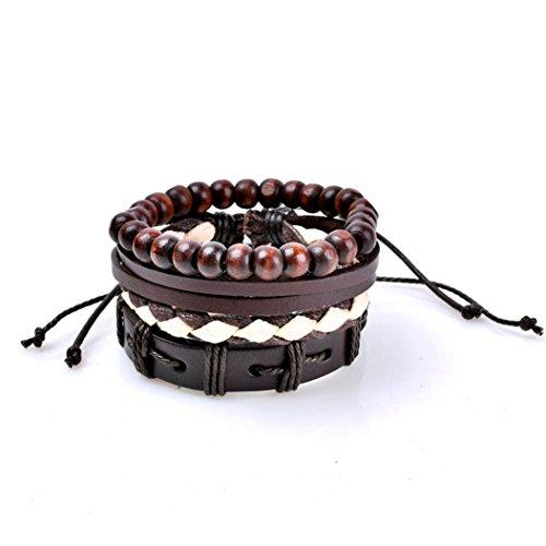 Challyhope Wrap Bracelets Men Women, Hemp Cords Wood Beads Ethnic Tribal Bracelets, Multilayer Handmade Leather Wristbands (I, 17cm+4cm(Adjustable)) (A, 17cm+4cm(Adjustable))