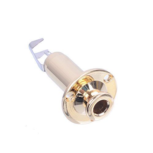 MusicOne Acoustic Electric Guitar Stereo Flush Endpin Cylinder Output End Pin Plugs Strap Button Jack ,Gold Pack Of 2 Pcs