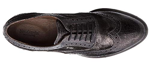 Zapatos Mujer Size Para Gris Cordones Nero Eu Giardini De Cuero 37 5Wgq6w