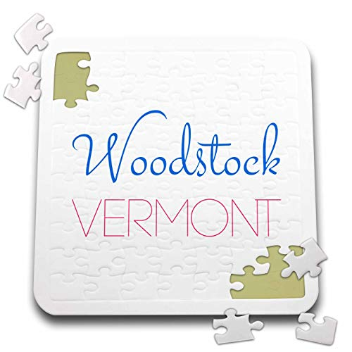 3dRose Alexis Design - American Holidays Towns - Woodstock, Vermont Blue, red Decorative Text on White - 10x10 Inch Puzzle ()