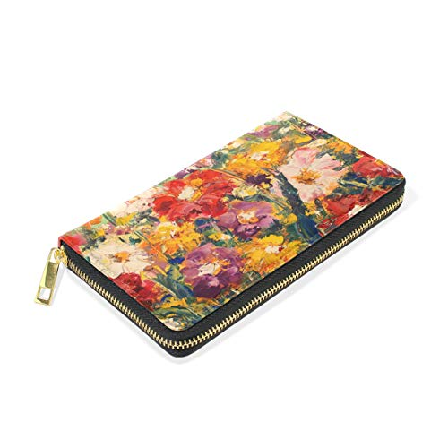 Organizer Oil Purses Womens Painting TIZORAX Around Clutch Wallet Zip Flowers Field Handbags And qY1dd0
