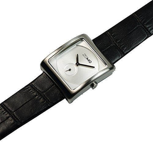 ZOMO Aroma Designer Watches for Women-Analog Swiss Quartz Classic Watches - Stainless Steel Rectangle Small Second Dress Watch with Silver dial and Black leather Strap by ZOMO (Image #2)