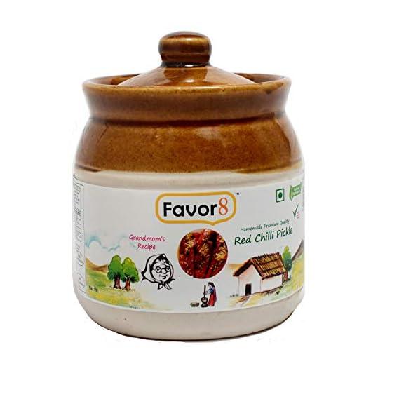 Favor8 Red Chilli Pickle (Stuffed Masala), 350g in Ceramic Jar (Homemade Banarasi Recipe)