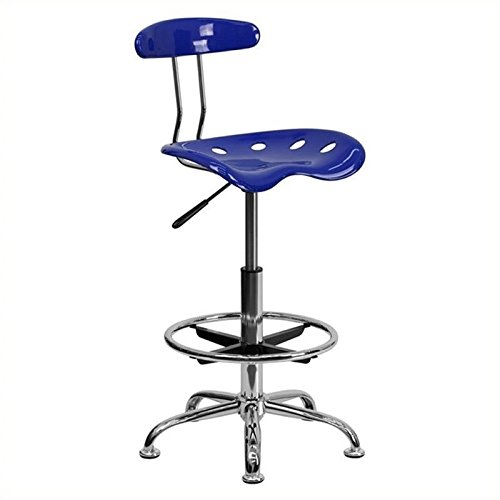 Scranton and Co Adjustable Chrome Drafting Chair in Blue
