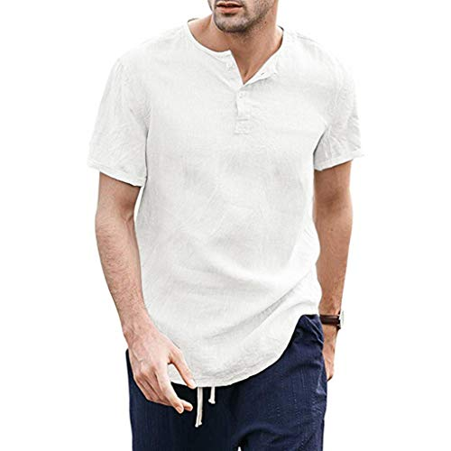 Uqiangy Men's Henly Casual Lightweight Soft Slim Short Sleeve Cotton and Line Solid Shirts ()