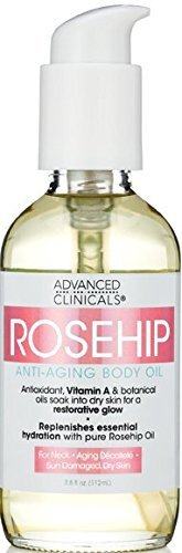 Advanced Clinicals Rosehip Body Oil. Anti-Aging oil with Vitamin A for neck, decollete, sun damaged, dry skin. 3.8 oz.