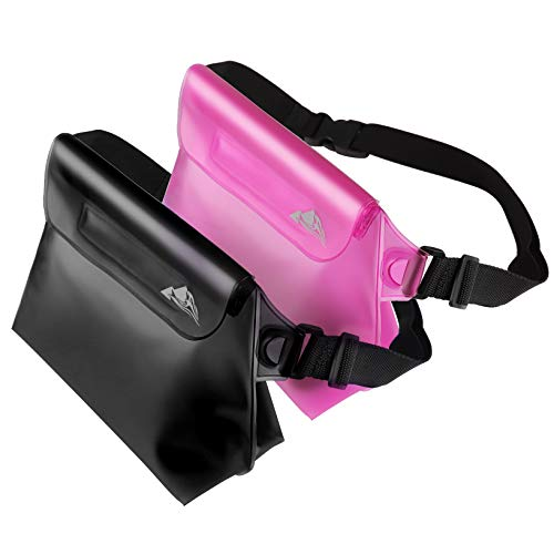 HEETA 2-Pack Waterproof Pouch with Waist Strap, Transparent Screen Touchable Dry Bag with Adjustable Belt for Phone Valuables for Swimming Snorkeling Boating Fishing Kayaking (Pink & Black)