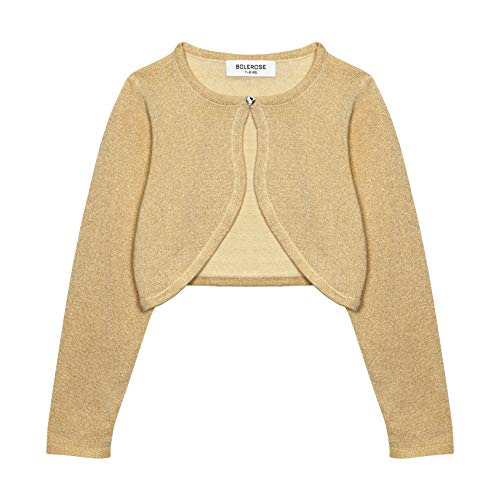 Bolerose Girls Long Sleeve Sparkle Cardigan Childrens Kids Bolero Shrug (Gold, 3-4 YRS) ()