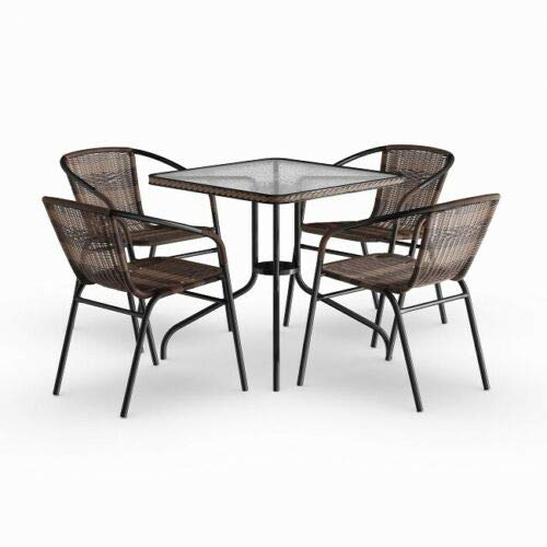 SRETAN 5 Pcs Patio Table Chair Set Brown Black Square Indoor Outdoor Dining Deck Garden Furniture Metal Plastic Rattan Glass Tabletop Size 28 x 28 x 28 inch (Salterini Vintage Furniture Patio Iron Wrought)