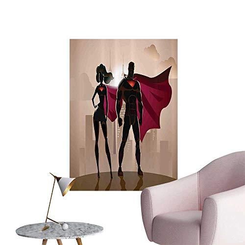 Vinyl Artwork Super Woman Man Heroes City Hot Couple Costume Easy to Peel Easy to Stick,24