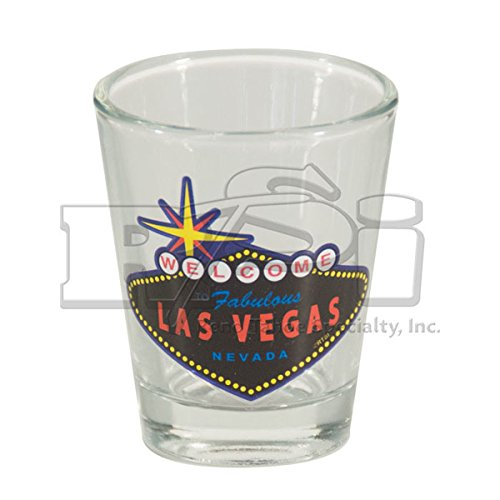 WELCOME TO FABULOUS LAS VEGAS SIGN SHOT GLASS - CLEAR GLASS WITH BLACK SIGN (#8904600) (1) Casino Las Vegas Glass