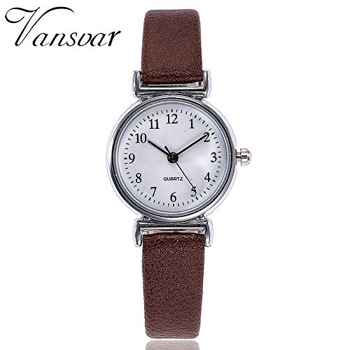 (Women's Leather Deployment Clasp Bucket Casual Quartz Leather Band Watch Analog Wrist Watch (Brown))