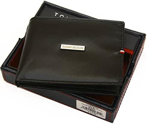 Tommy Hilfiger Men's Logo Leather Passcase & Valet Wallet-Black