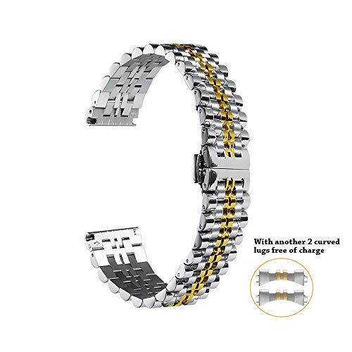 Stainless Steel Watch Band Strap 22mm 20mm 18mm Metal Business Replacement Bracelet Strap Silver/Rose Gold/Gold Chimaera by CHIMAERA