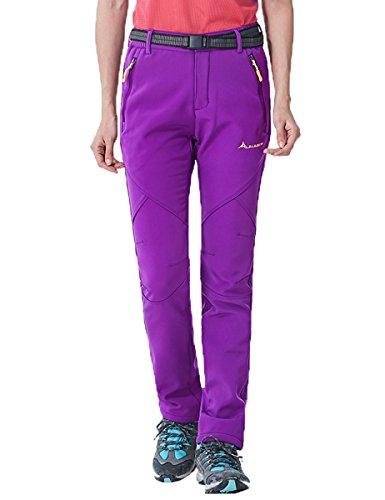MorryOddy Women's Outdoor Waterproof Softshell Fleece Snow Pants Purple (Stretch Snow)