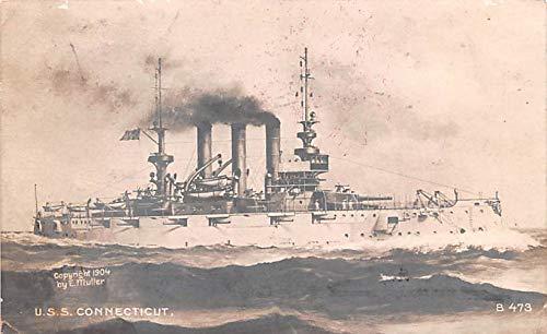 Military Battleship Postcard, Old Vintage Antique Military Ship Post Card U.S.S. Connecticut 1908