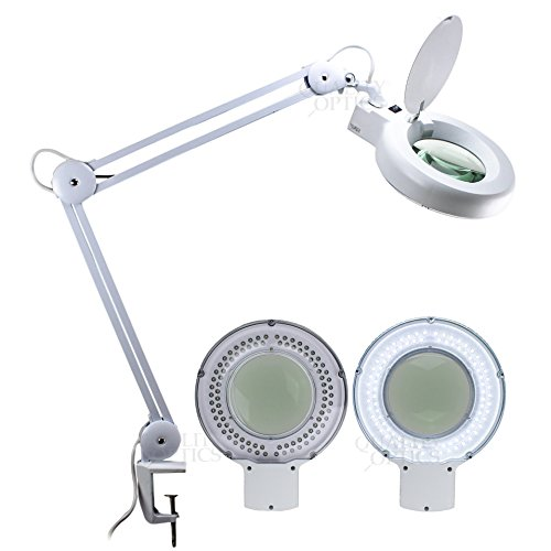 LED Desk Clamp Mount Magnifier Lamp Light Magnifying Glas...