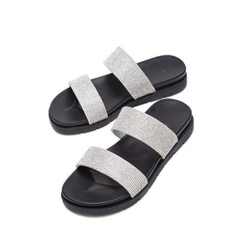 Blanco Dulces Verano Altos Punta Ocasionales Sandalias Moda de de Planas Tacón Zapatillas de Mujer bajo Tacones DHG de Sandalias de de 35 Color Sandalias Sólido 5Fgqtftw
