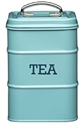 KitchenCraft Living Nostalgia Vintage Metal Tea Teabag Storage Tin in Blue LNTEABLU by KitchenCraft