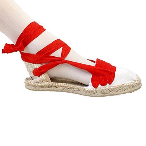 Alpargatas Tabernero de Betas Rojas con Suela de Esparto y Goma - Espardenyes Tres Vetes vermelles amb Sola de espart i Goma - Rojo, 47: Amazon.es: Zapatos ...