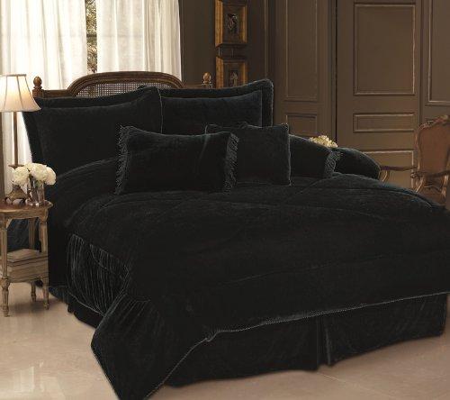 Amazon.com: 11 Piece Full Black Velvet Bed in a Bag Set: Home ...