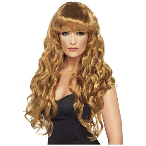 Siren Wig - Long Curly with Bangs - 7 colors Costume Accessory (Wig Siren Brown)