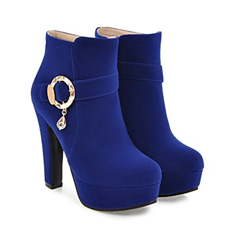 XZ Fashion Sexy High-Heeled Short Boots Female Autumn and Winter Thick Heel Blue j90sa7A